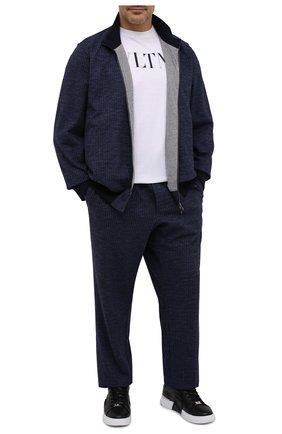 Мужской спортивный костюм из хлопка и шерсти CAPOBIANCO темно-синего цвета, арт. 9MT12.F000./62-68 | Фото 1
