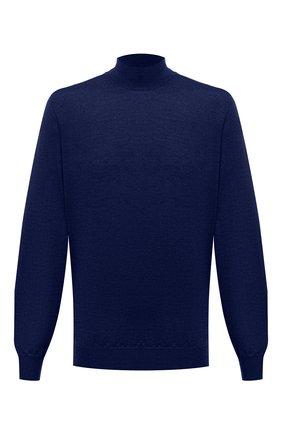 Мужской водолазка из шерсти и кашемира FIORONI синего цвета, арт. MK00T0D4 | Фото 1 (Материал внешний: Шерсть; Рукава: Длинные; Длина (для топов): Удлиненные; Мужское Кросс-КТ: Водолазка-одежда; Принт: Без принта; Стили: Кэжуэл)