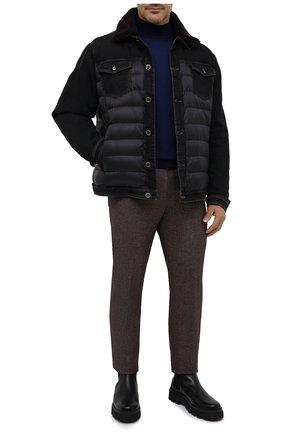 Мужской водолазка из шерсти и кашемира FIORONI синего цвета, арт. MK00T0D4 | Фото 2 (Материал внешний: Шерсть; Рукава: Длинные; Длина (для топов): Удлиненные; Мужское Кросс-КТ: Водолазка-одежда; Принт: Без принта; Стили: Кэжуэл)