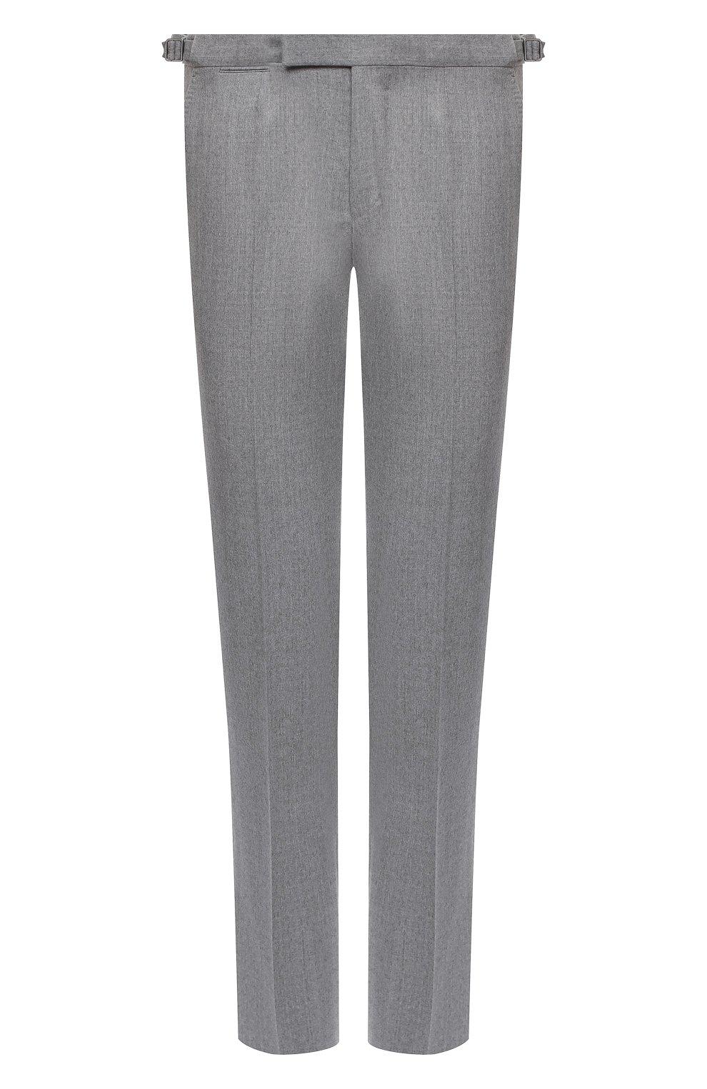 Мужские шерстяные брюки ERMENEGILDO ZEGNA светло-серого цвета, арт. 830F18/75F812   Фото 1 (Материал внешний: Шерсть; Длина (брюки, джинсы): Стандартные; Стили: Классический; Случай: Формальный; Материал подклада: Вискоза)