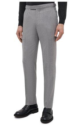 Мужские шерстяные брюки ERMENEGILDO ZEGNA светло-серого цвета, арт. 830F18/75F812   Фото 3 (Материал внешний: Шерсть; Длина (брюки, джинсы): Стандартные; Стили: Классический; Случай: Формальный; Материал подклада: Вискоза)