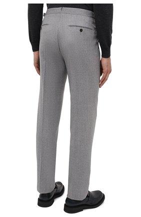 Мужские шерстяные брюки ERMENEGILDO ZEGNA светло-серого цвета, арт. 830F18/75F812   Фото 4 (Материал внешний: Шерсть; Длина (брюки, джинсы): Стандартные; Стили: Классический; Случай: Формальный; Материал подклада: Вискоза)