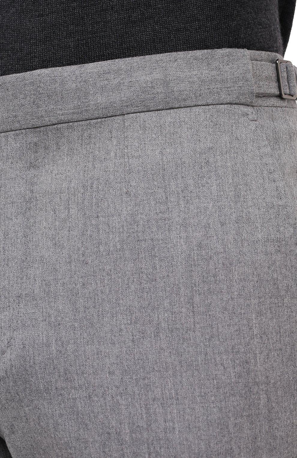 Мужские шерстяные брюки ERMENEGILDO ZEGNA светло-серого цвета, арт. 830F18/75F812   Фото 5 (Материал внешний: Шерсть; Длина (брюки, джинсы): Стандартные; Стили: Классический; Случай: Формальный; Материал подклада: Вискоза)
