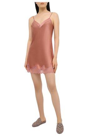 Женская шелковая сорочка SIMONEPERELE бежевого цвета, арт. 17F940 | Фото 2