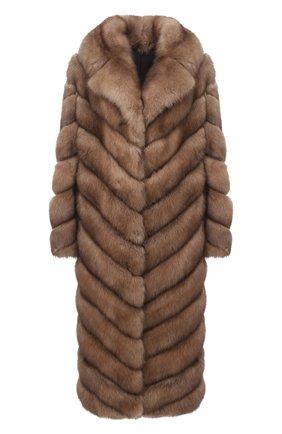 Женская шуба из меха соболя KUSSENKOVV светло-коричневого цвета, арт. 703600005515 | Фото 1