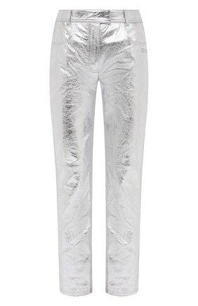 Женские кожаные брюки OFF-WHITE серебряного цвета, арт. 0WJB011F20LEA0010900 | Фото 1