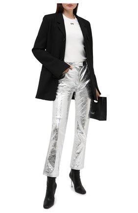 Женские кожаные брюки OFF-WHITE серебряного цвета, арт. 0WJB011F20LEA0010900 | Фото 2