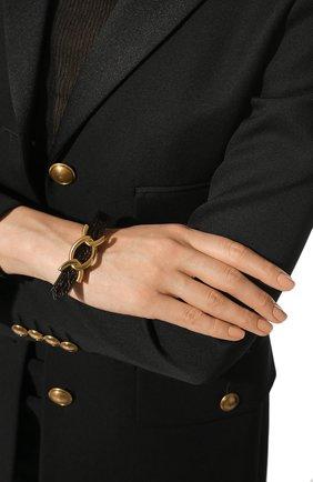 Женский кожаный браслет SAINT LAURENT темно-коричневого цвета, арт. 640736/1ZQ0J | Фото 2