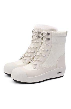 Женские кожаные ботинки BALLY белого цвета, арт. GARBEL-BB/07 | Фото 1
