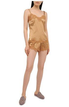 Женские шорты из шелка и хлопка DOLCE & GABBANA бежевого цвета, арт. 03B35T/FUAD8 | Фото 2