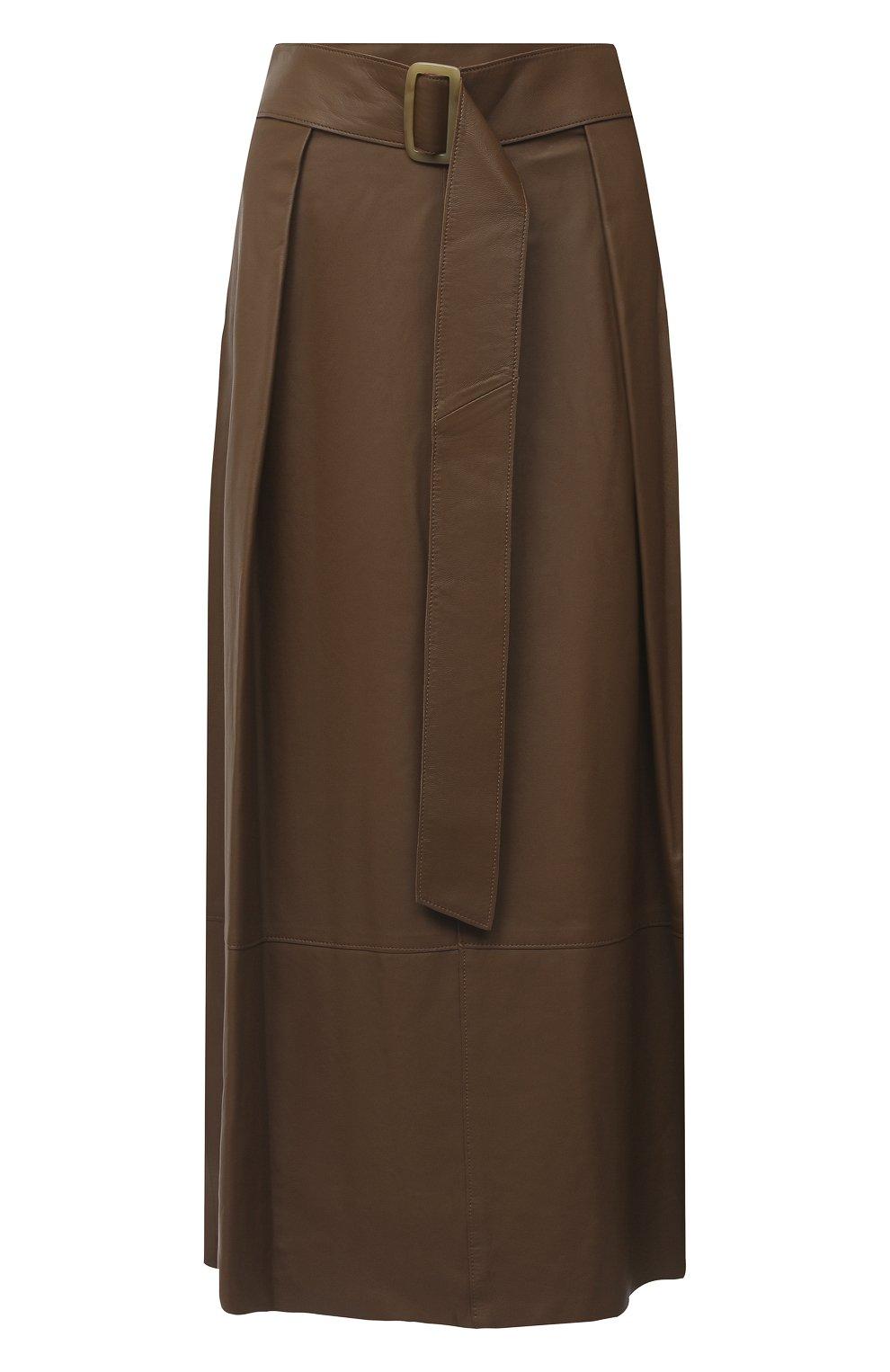 Женская кожаная юбка VINCE бежевого цвета, арт. V690030642   Фото 1