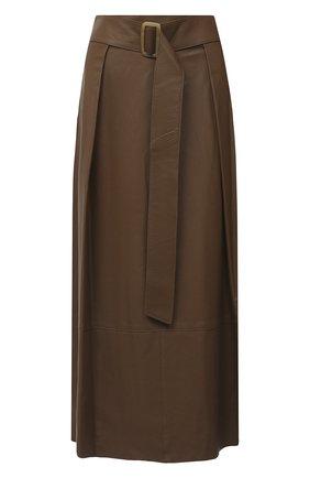 Женская кожаная юбка VINCE бежевого цвета, арт. V690030642 | Фото 1