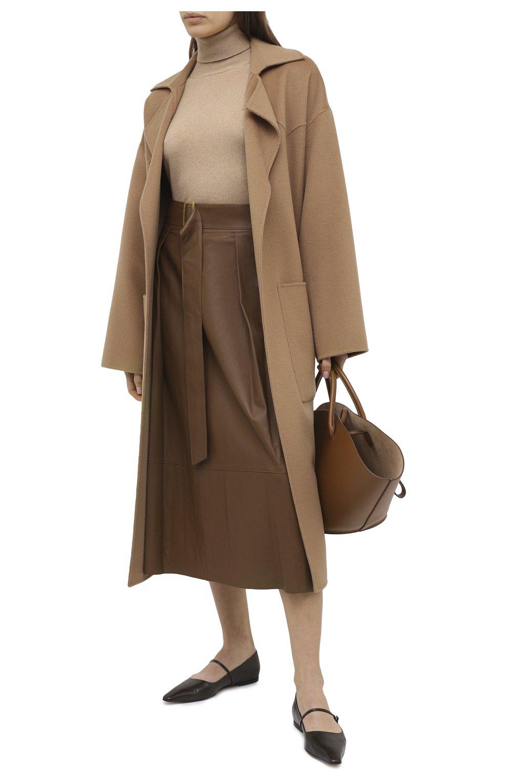 Женская кожаная юбка VINCE бежевого цвета, арт. V690030642   Фото 2