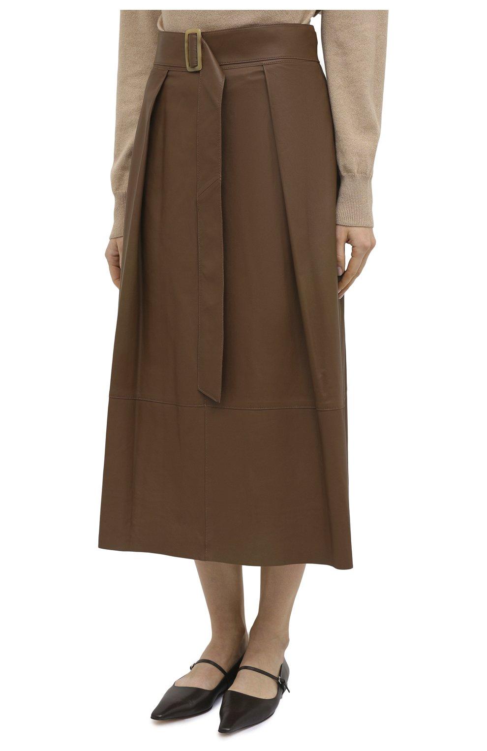 Женская кожаная юбка VINCE бежевого цвета, арт. V690030642   Фото 3