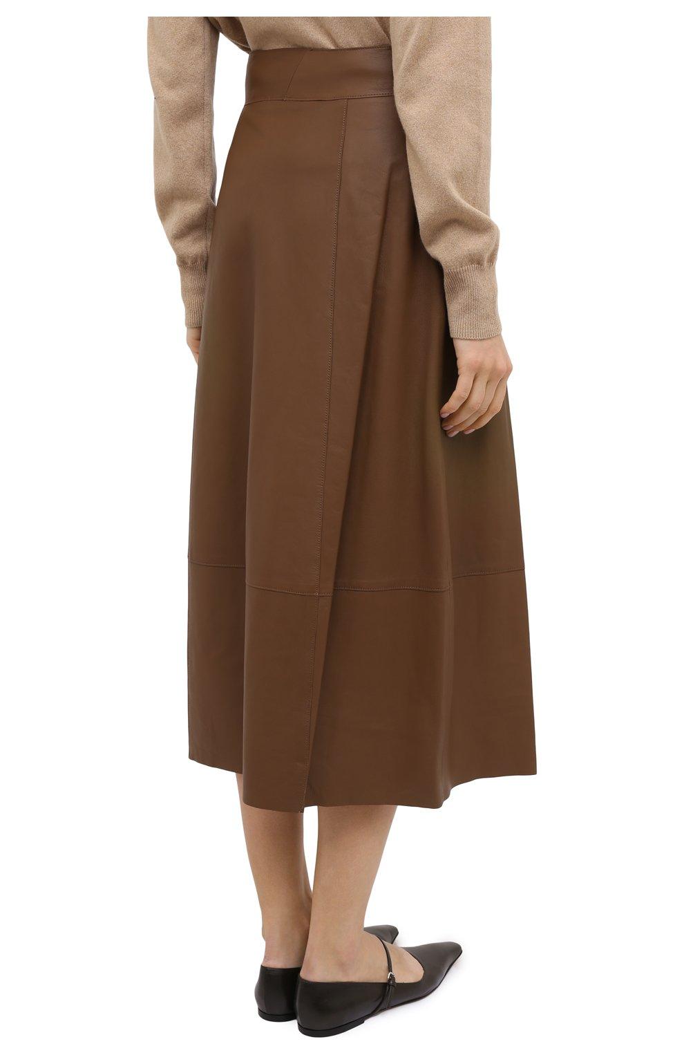 Женская кожаная юбка VINCE бежевого цвета, арт. V690030642   Фото 4