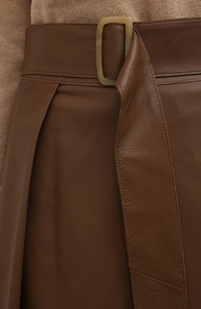 Женская кожаная юбка VINCE бежевого цвета, арт. V690030642   Фото 5