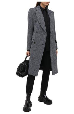 Женское пальто из шерсти и хлопка VICTORIA BECKHAM темно-синего цвета, арт. 1420WCT002037E | Фото 2