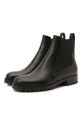 Женские кожаные ботинки marchacroche CHRISTIAN LOUBOUTIN черного цвета, арт. marchacroche flat calf | Фото 1