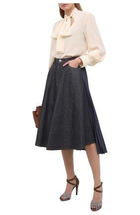 Женские кожаные босоножки RALPH LAUREN серебряного цвета, арт. 800826608   Фото 2