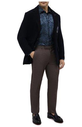 Мужская шелковая рубашка ZILLI синего цвета, арт. MFU-27001-1668/0007/45-49 | Фото 2