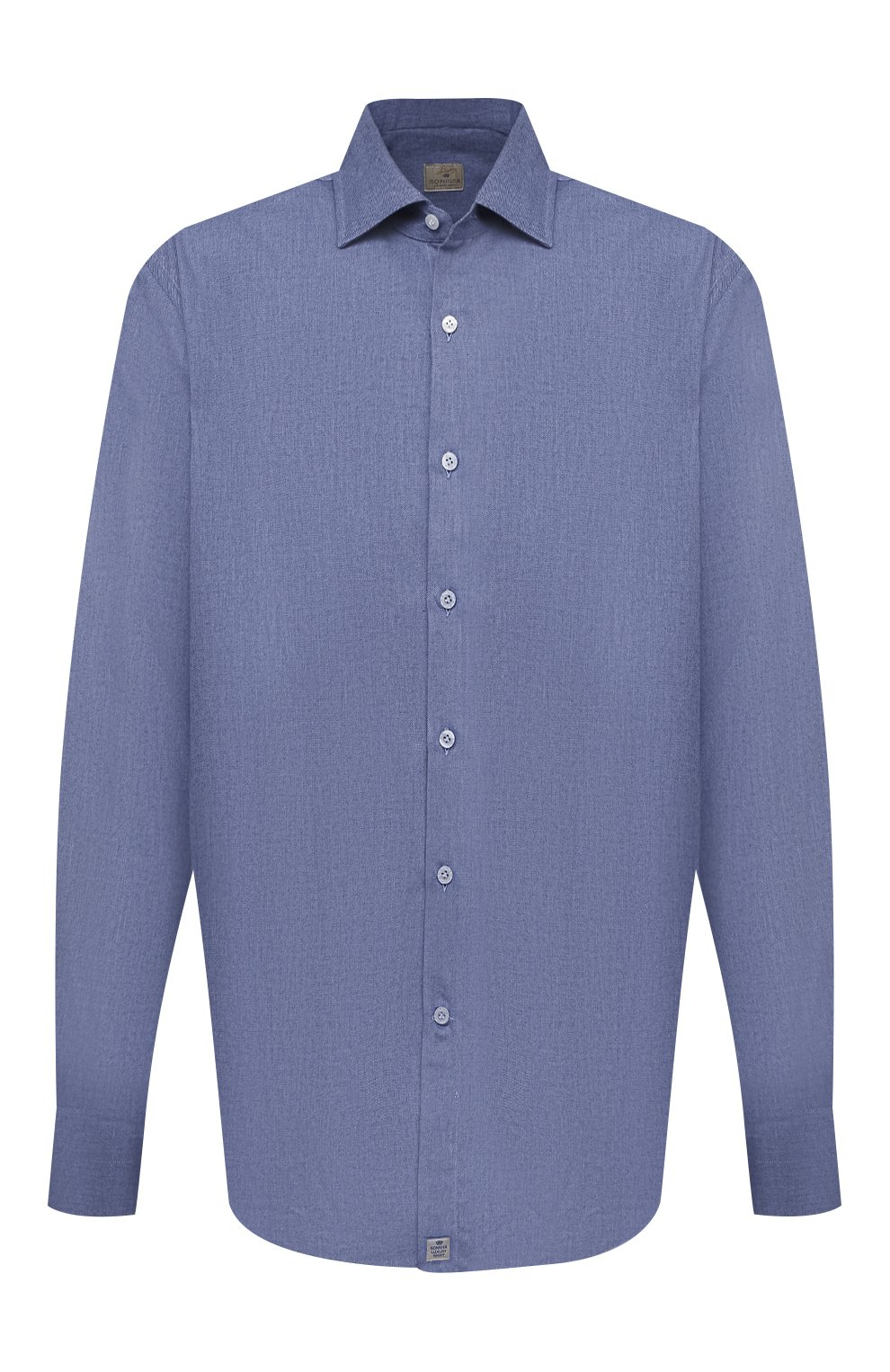 Мужская хлопковая рубашка SONRISA синего цвета, арт. IL7/L1080/47-51 | Фото 1 (Манжеты: На пуговицах; Big sizes: Big Sizes; Рукава: Длинные; Рубашки М: Regular Fit; Воротник: Акула; Случай: Повседневный; Длина (для топов): Стандартные; Материал внешний: Хлопок; Принт: Однотонные; Мужское Кросс-КТ: Рубашка-одежда; Стили: Кэжуэл)