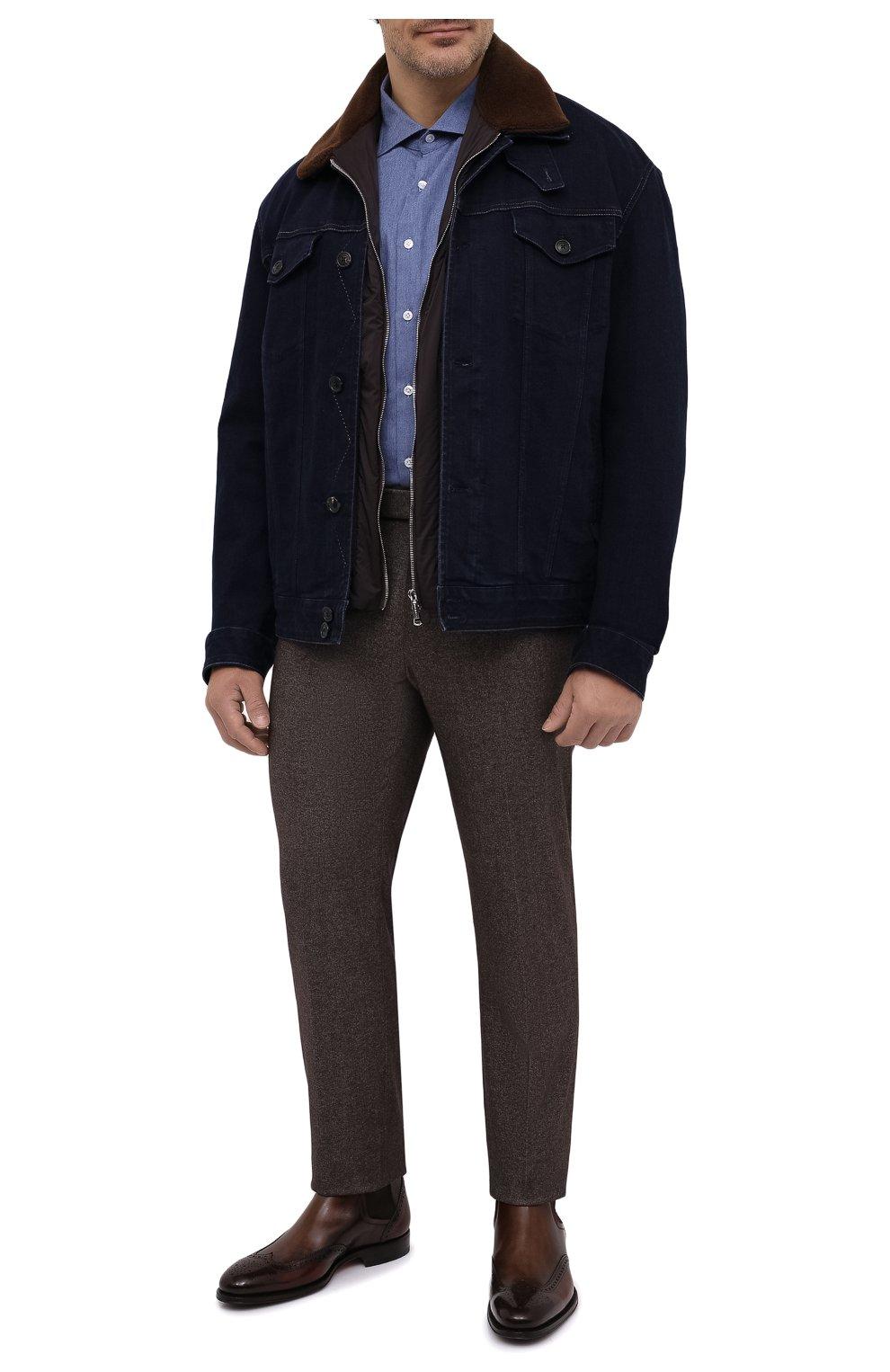 Мужская хлопковая рубашка SONRISA синего цвета, арт. IL7/L1080/47-51 | Фото 2 (Манжеты: На пуговицах; Big sizes: Big Sizes; Рукава: Длинные; Рубашки М: Regular Fit; Воротник: Акула; Случай: Повседневный; Длина (для топов): Стандартные; Материал внешний: Хлопок; Принт: Однотонные; Мужское Кросс-КТ: Рубашка-одежда; Стили: Кэжуэл)