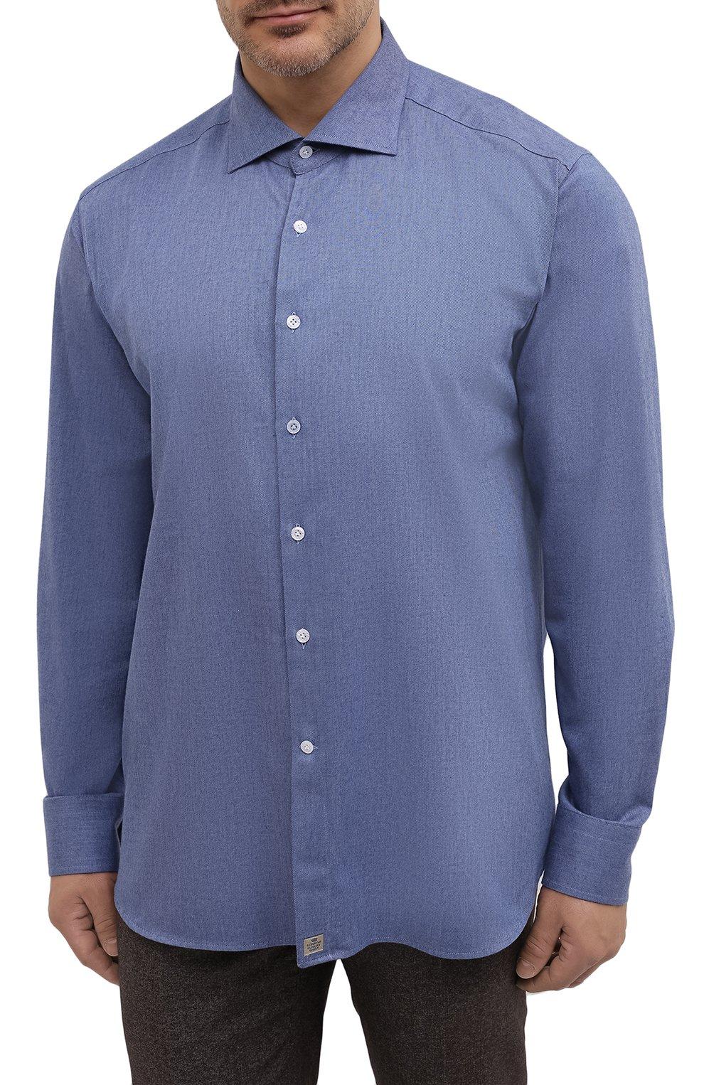 Мужская хлопковая рубашка SONRISA синего цвета, арт. IL7/L1080/47-51 | Фото 3 (Манжеты: На пуговицах; Big sizes: Big Sizes; Рукава: Длинные; Рубашки М: Regular Fit; Воротник: Акула; Случай: Повседневный; Длина (для топов): Стандартные; Материал внешний: Хлопок; Принт: Однотонные; Мужское Кросс-КТ: Рубашка-одежда; Стили: Кэжуэл)