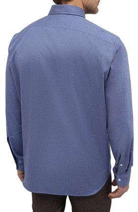 Мужская хлопковая рубашка SONRISA синего цвета, арт. IL7/L1080/47-51 | Фото 4 (Манжеты: На пуговицах; Big sizes: Big Sizes; Рукава: Длинные; Рубашки М: Regular Fit; Воротник: Акула; Случай: Повседневный; Длина (для топов): Стандартные; Материал внешний: Хлопок; Принт: Однотонные; Мужское Кросс-КТ: Рубашка-одежда; Стили: Кэжуэл)