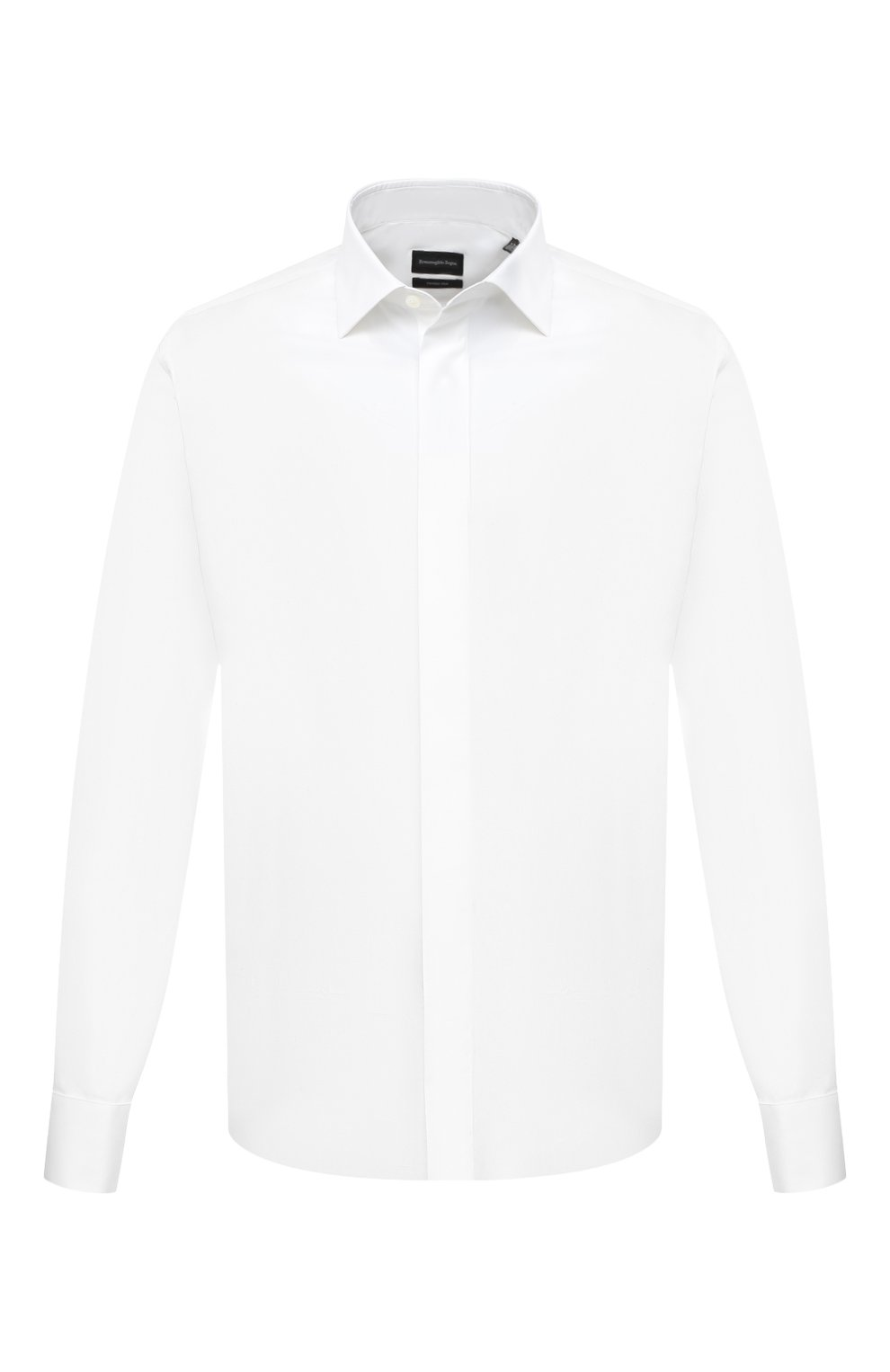 Мужская сорочка из хлопка и шелка ERMENEGILDO ZEGNA белого цвета, арт. 801950/9MCZRM   Фото 1