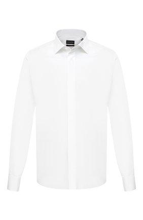 Мужская сорочка из хлопка и шелка ERMENEGILDO ZEGNA белого цвета, арт. 801950/9MCZRM | Фото 1