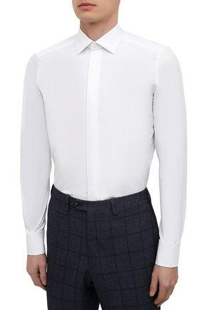Мужская сорочка из хлопка и шелка ERMENEGILDO ZEGNA белого цвета, арт. 801950/9MCZRM   Фото 3