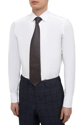Мужская сорочка из хлопка и шелка ERMENEGILDO ZEGNA белого цвета, арт. 801950/9MCZRM   Фото 4