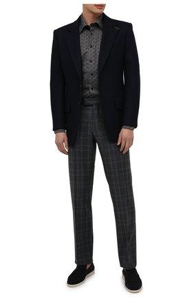 Мужские шерстяные брюки ZILLI синего цвета, арт. M0U-40-38P-D6506/0001 | Фото 2 (Материал внешний: Шерсть; Длина (брюки, джинсы): Стандартные; Материал подклада: Купро; Случай: Формальный; Стили: Классический)