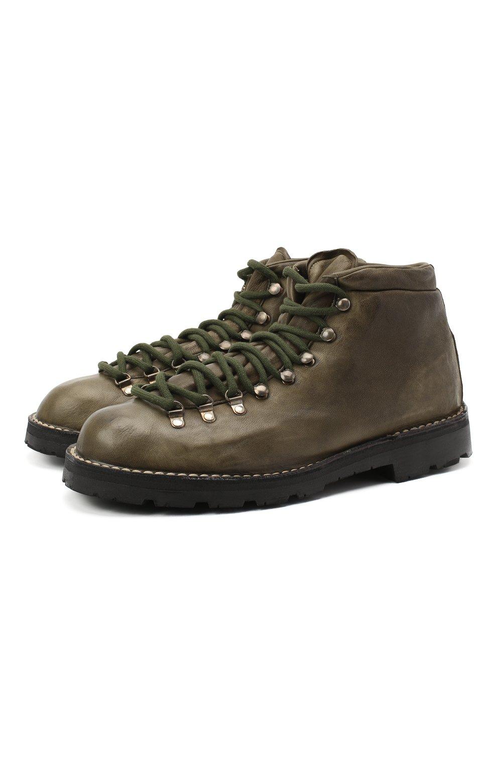 Мужские кожаные ботинки ANDREA VENTURA FIRENZE зеленого цвета, арт. LE APUANE 1/IGNIS WASH/VIBRAM ARCTIC GRIP | Фото 1 (Материал внешний: Кожа; Мужское Кросс-КТ: Хайкеры-обувь, Ботинки-обувь; Материал внутренний: Натуральная кожа; Подошва: Плоская)