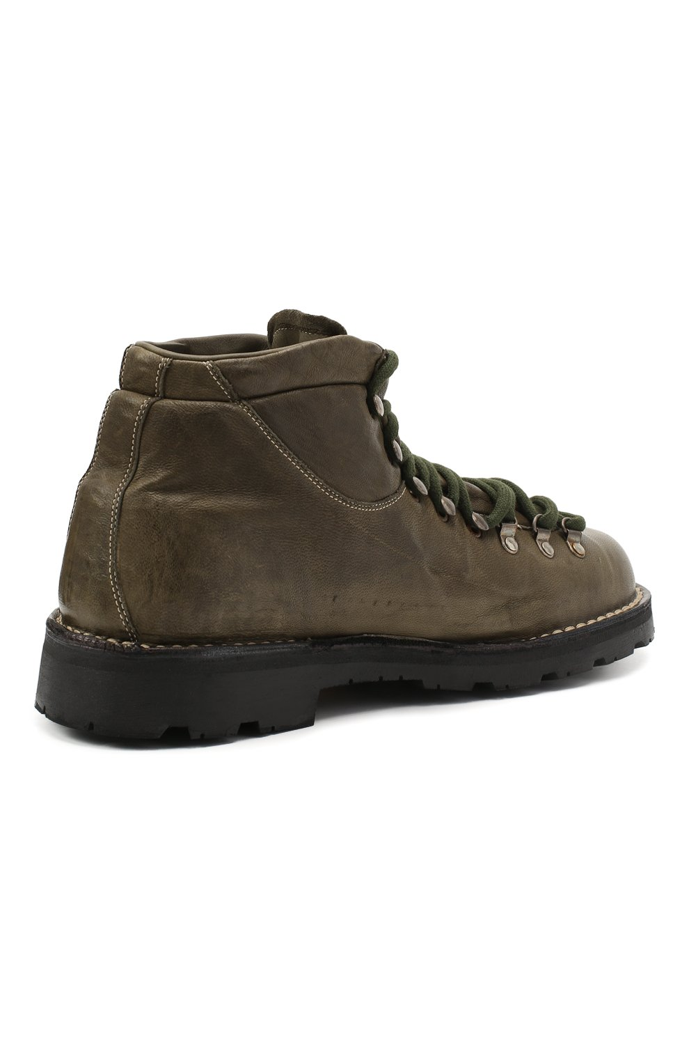 Мужские кожаные ботинки ANDREA VENTURA FIRENZE зеленого цвета, арт. LE APUANE 1/IGNIS WASH/VIBRAM ARCTIC GRIP | Фото 4 (Материал внешний: Кожа; Мужское Кросс-КТ: Хайкеры-обувь, Ботинки-обувь; Материал внутренний: Натуральная кожа; Подошва: Плоская)