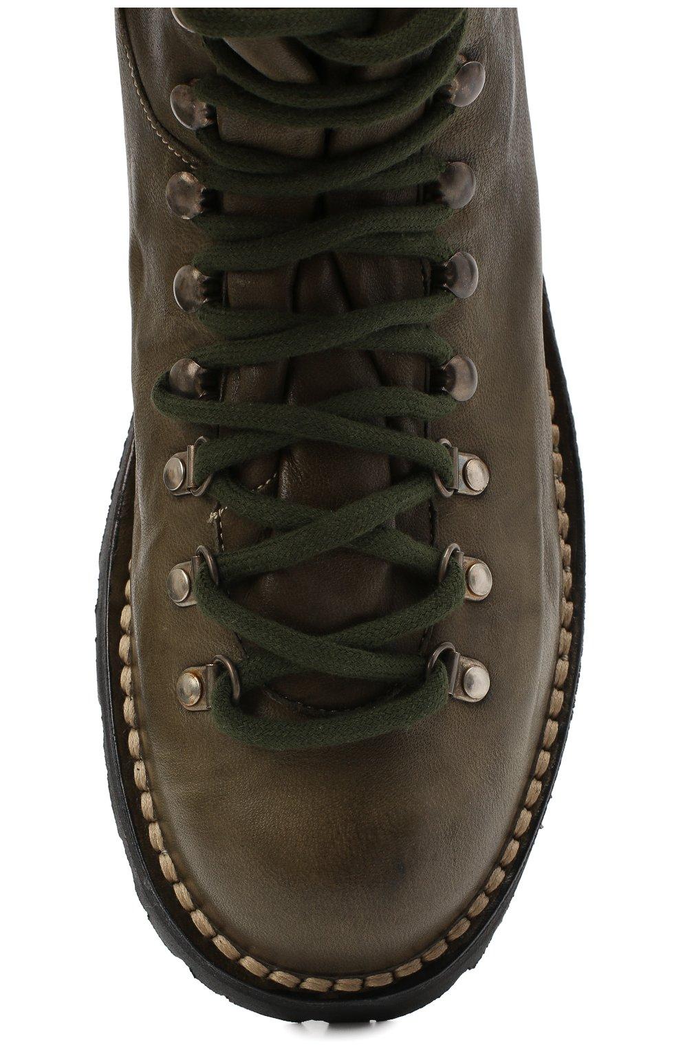 Мужские кожаные ботинки ANDREA VENTURA FIRENZE зеленого цвета, арт. LE APUANE 1/IGNIS WASH/VIBRAM ARCTIC GRIP | Фото 5 (Материал внешний: Кожа; Мужское Кросс-КТ: Хайкеры-обувь, Ботинки-обувь; Материал внутренний: Натуральная кожа; Подошва: Плоская)