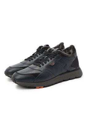 Мужские кожаные кроссовки SANTONI темно-синего цвета, арт. MBCR21409ANAPWYAU53   Фото 1