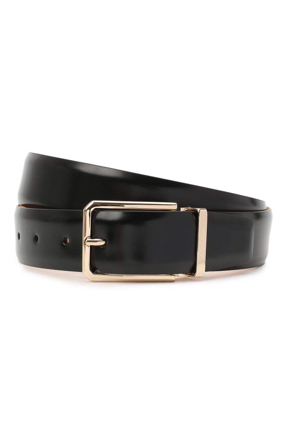 Мужской кожаный ремень SANTONI черного цвета, арт. CM35NS003B90H0BRN01 | Фото 1