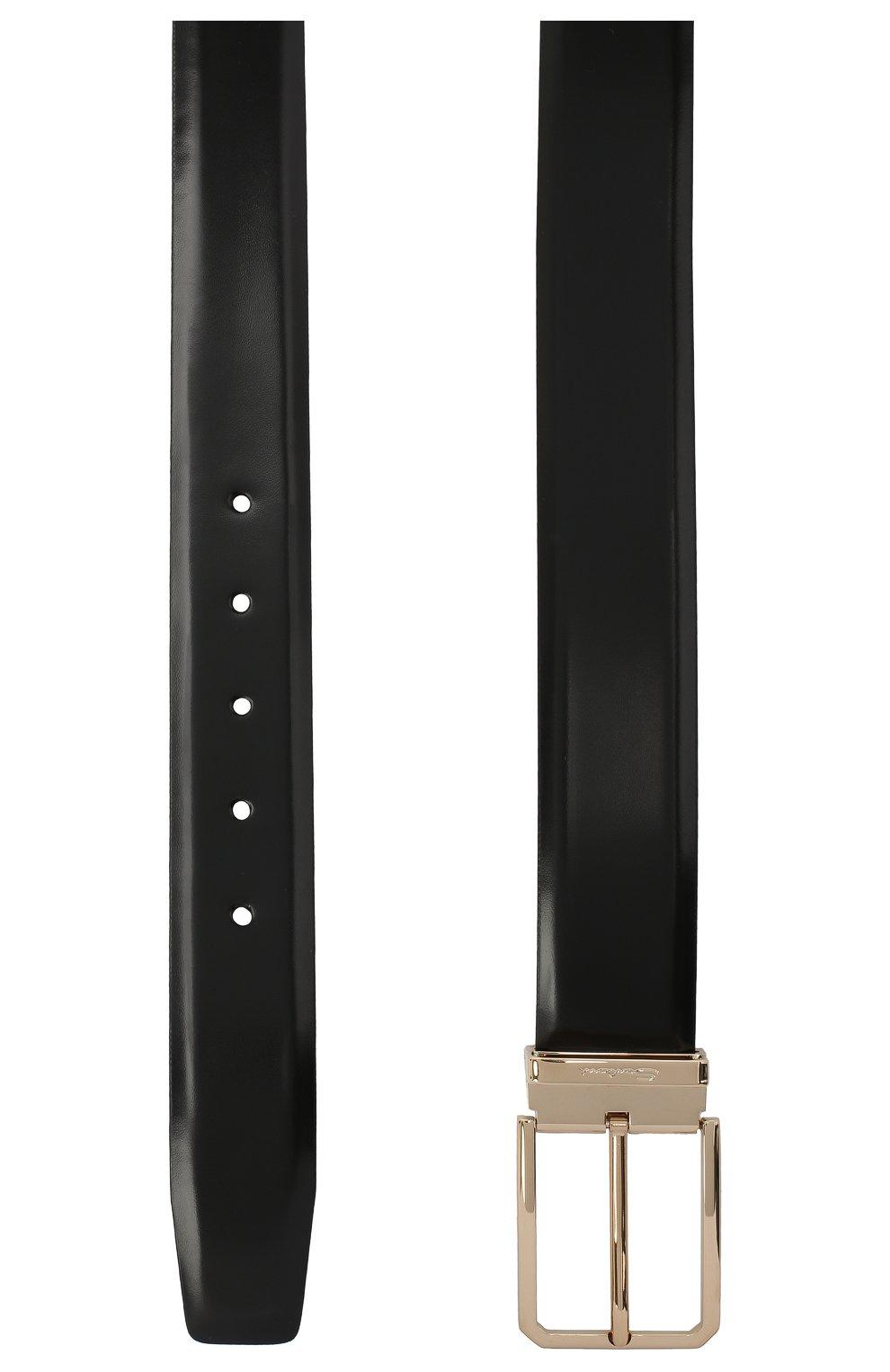 Мужской кожаный ремень SANTONI черного цвета, арт. CM35NS003B90H0BRN01 | Фото 2