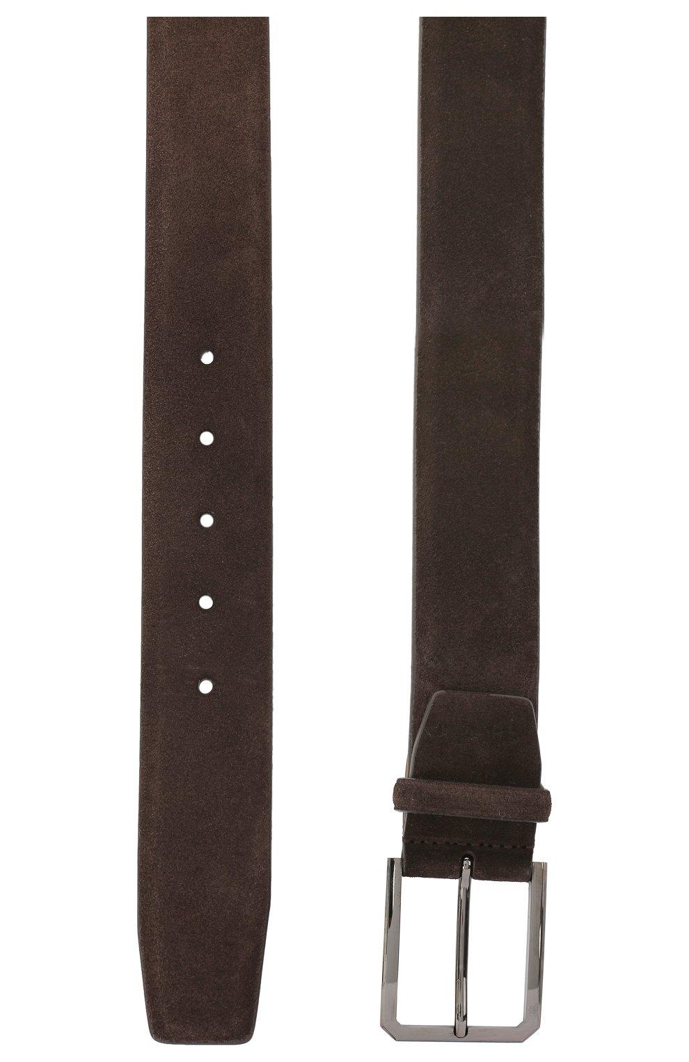 Мужской замшевый ремень SANTONI темно-коричневого цвета, арт. CM40NS003C07G2SNT50 | Фото 2