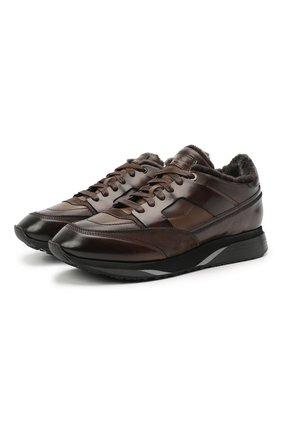 Мужские кожаные кроссовки SANTONI темно-коричневого цвета, арт. MBEN21203NGGPG0DT60   Фото 1