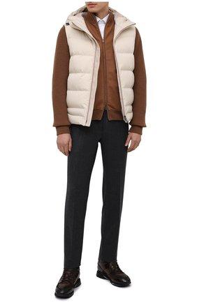 Мужские кожаные кроссовки SANTONI темно-коричневого цвета, арт. MBEN21203NGGPG0DT60   Фото 2