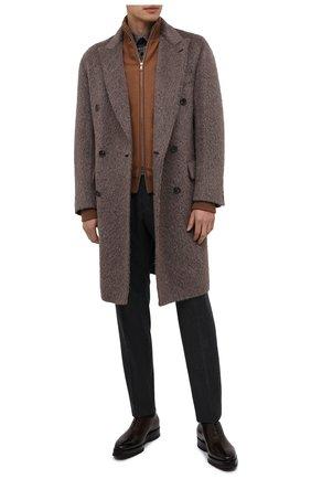 Мужские кожаные оксфорды SANTONI темно-коричневого цвета, арт. MCLE16882BQ4IVVDT50 | Фото 2