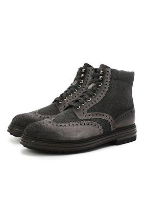 Мужские комбинированные ботинки SANTONI темно-серого цвета, арт. MGMI16851JK2AMENG62 | Фото 1