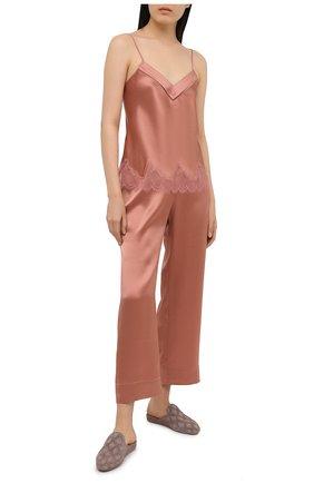 Женские шелковые брюки SIMONEPERELE бежевого цвета, арт. 15B660 | Фото 2