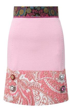 Женская юбка из шерсти и шелка DOLCE & GABBANA розового цвета, арт. J4012Z/FU2TZ | Фото 1