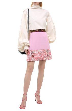 Женская юбка из шерсти и шелка DOLCE & GABBANA розового цвета, арт. J4012Z/FU2TZ | Фото 2