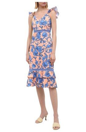 Женское хлопковое платье ALICE + OLIVIA оранжевого цвета, арт. CC004P14535 | Фото 2