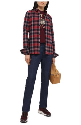 Женские кожаные кроссовки SANTONI бордового цвета, арт. WBI060754BCBRVBYB50   Фото 2