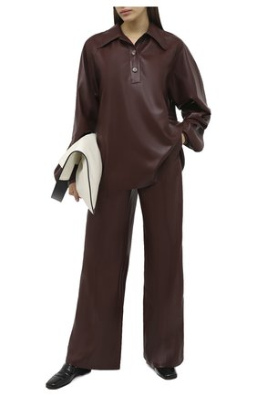 Женские брюки NANUSHKA коричневого цвета, арт. CLE0_PLUM CHUTNEY_VEGAN LEATHER | Фото 2